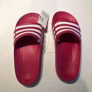 Adidas Pink Duramo slides slip on sandals NWOB